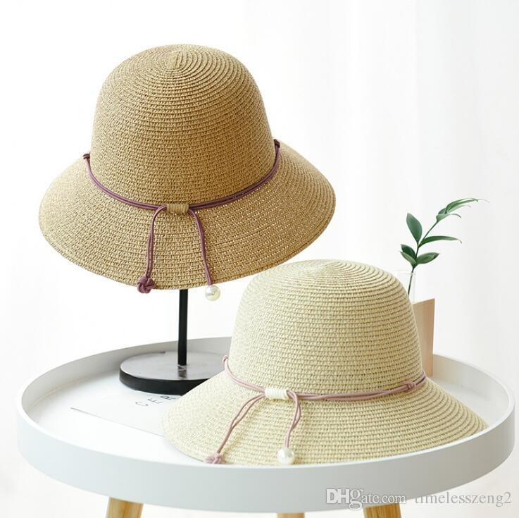 Summer Women Bucket Hat Foldable Straw Hats With Pearl Pendant Sun Cap For  Lady Wide Brim Hats Sun Bonnet Fisherman Hat Free Ship Funny Hats Hat World  From ... 6d376f26a