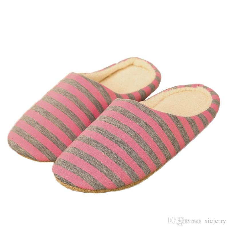 51f876e73fa 2019 Slipper Women Striped Bottom Soft Home Slippers Warm Cotton Shoes Women  Indoor Slippers Slip On Shoes For Bedroom House From Xiejerry