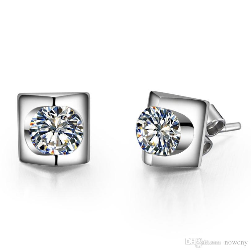 New 925 Sterling Silver Lady Crystal Lab Diamond Long Tassel Drop Stud Earrings