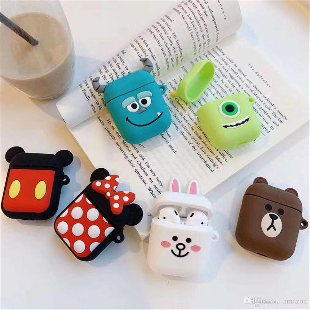 Cartoon AirPods Case For Apple Airpods Earphone + Anti-lost Strap Soft Silicone Air Pods Case WaterProof Cover For iPhone 7 Airpods Cover