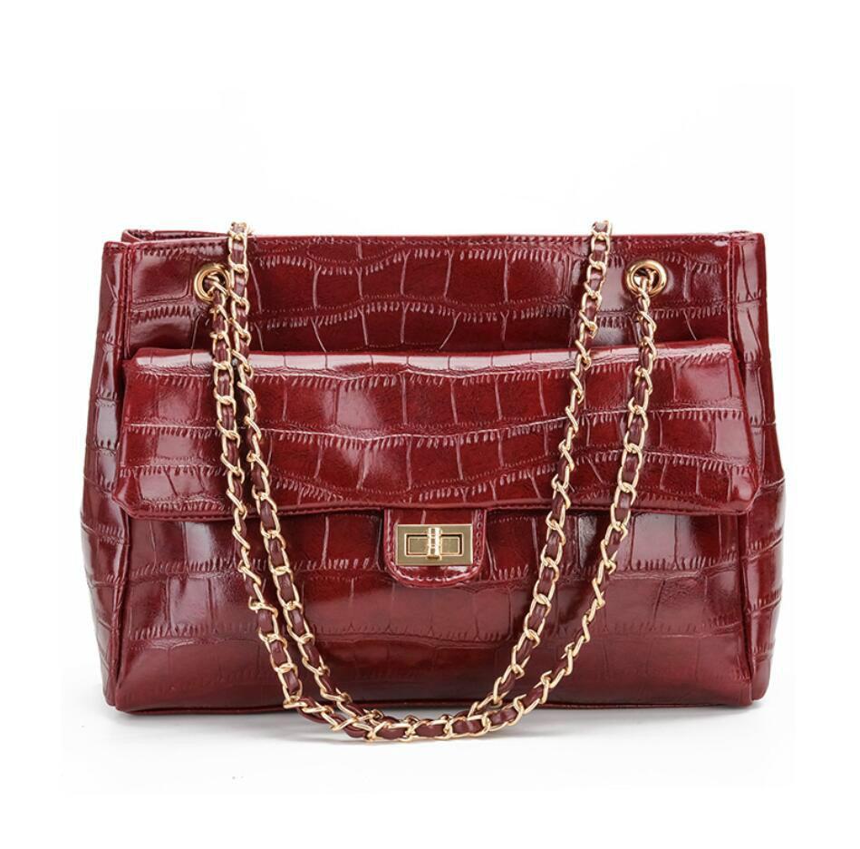 8e57378726bc Retro Fashion Female Tote Bag 2019 New Quality Pu Leather Women S Luxury Handbag  Crocodile Pattern Chain Shoulder Messenger Bags Luxury Bags Handbags ...