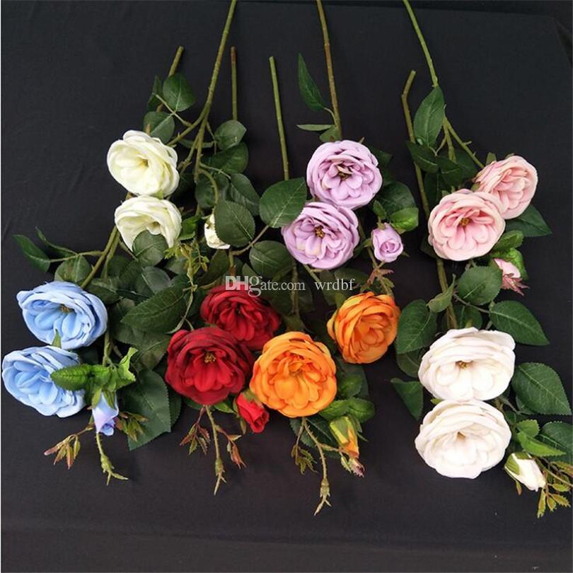 Silk Open shape Rose Flower Stems Artificial Rose Branches 7 colors for Wedding Home Showcase Decorative Flowers