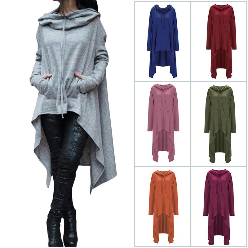 2019 Women S Solid Color Pullover Hoodie Long Sleeve Asymmetric Hem Big  Size Cotton Hoodies With Pocket Lady Long Sweatshirts From Fashiondress gz 4ce1b3ed3e