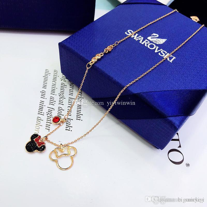 0e5386b00cf6 Compre Collar De Las Señoras Joyería Para Mujer De Lujo De La Señora 925  Plata Cisne Mickey Colgantes Cadena De Oro Pendentif Damas Collier Femme  Caja ...