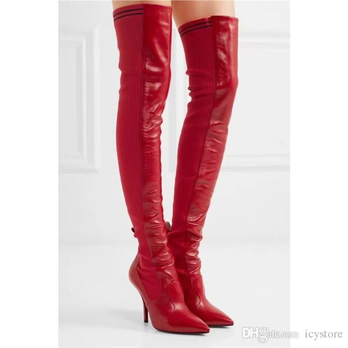Autumn Winter Fashion Women Red Black Leather Over Knee Long Boots Sexy Patchwork Slim High Heels Pointed Toe Stilettos Party Shoes Woman