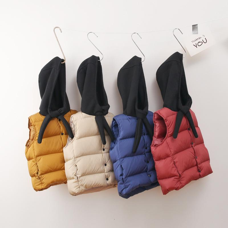 new Winter Kids Waistcoats Scarf Hooded Thicken Warm Baby Boys Padded Jackets Korean Style Girls Vests Unisex Children Clothes MX191030