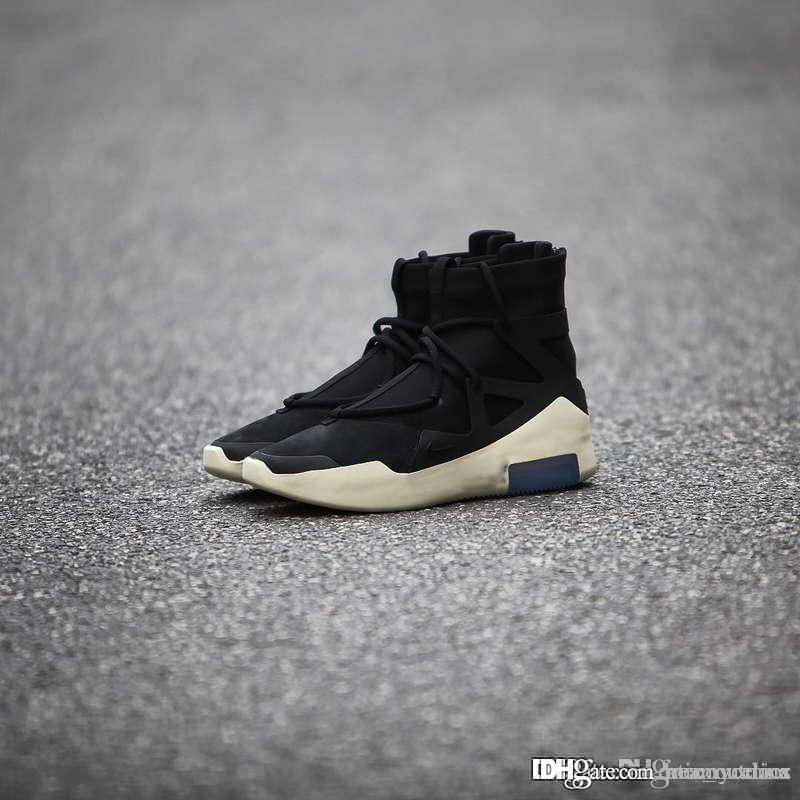 d4fa211f4 2019 2018 Authentic Air Fear Of God 1 Black Light Bone Sail Men Basketball  Shoes Sports Zoom Sneakers AR4237 001 With Original Box Wholesale From ...