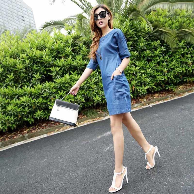 f7c6a0ed043e1 2019 New Summer Jeans Dress Female Casual Denim Dress Elegant Slim Summer  Mini Women Dresses Fashion Vestidos Plus Size Sundress Outfits Sundresses  Women ...