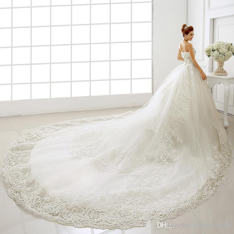 2019 New Vestidos De Sweetheart Sleeveless Floor-Length Long Wedding Dresses Lace Up Cathedral Brush Train Ball Gown Bridal Gowns