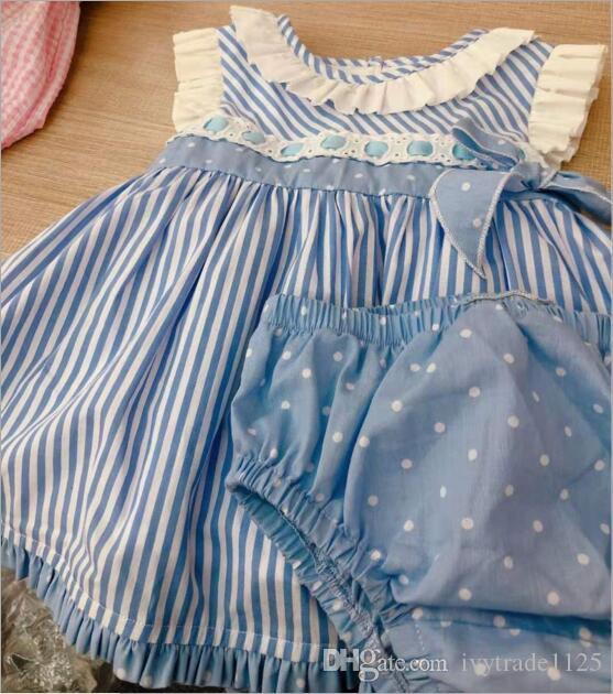 baby girl designer clothing dress Spain Style Exquisite Blue Lace Bow or pink Design girl dress summer girl clothes dress