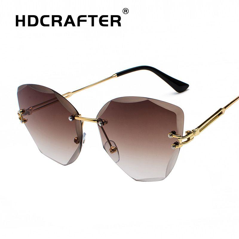 1666a9466bf94 HDCRAFTER Fashion Cat Eye Sunglasses Women UV400 Ladies Sunglasses Vintage  Brand Design Sun Glasses Rimless Diamond Lens Eyewear Round Glasses  Designer ...