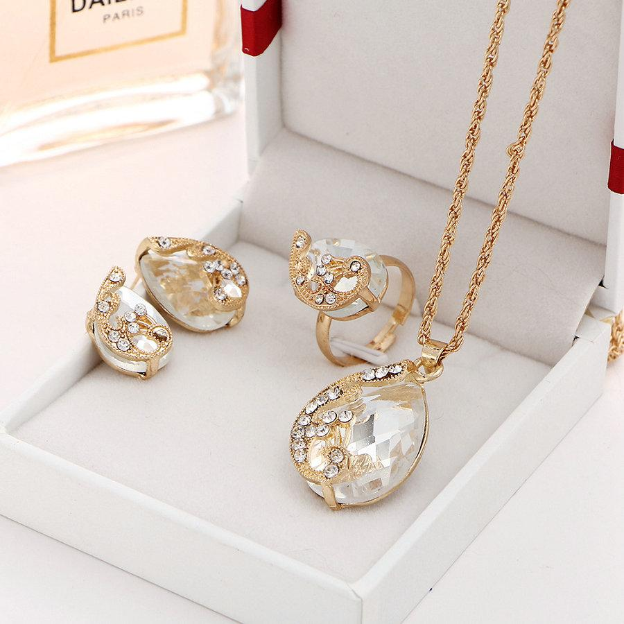 New Luxury Wedding Jewelry Sets for Women Brides Gold-Color Crystal Peacock Stud Earrings Ring Necklace Bridal Jewelry