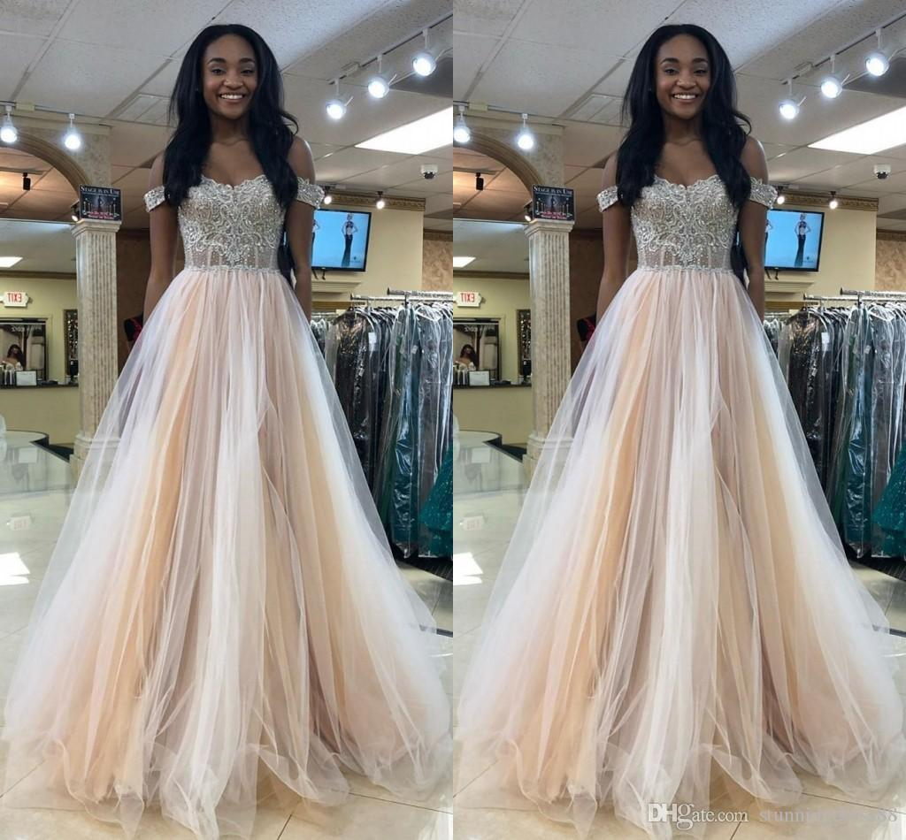 00fe39d526 Luxury Champagne Off The Shoulder Long Cheap Evening Dresses Formal Gowns  Crystal Rhinestones Tulle A Line Backless Bead Prom Pageant Dress Dresses  Shop ...