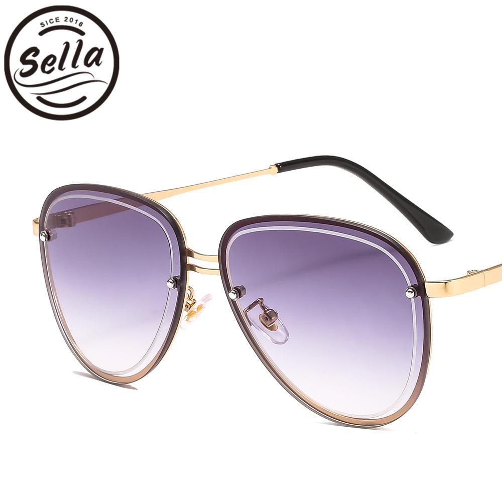 59120b3c1eb88 Sella New Fashion Women Men Oversized Pilot Sunglasses Alloy Frame ...