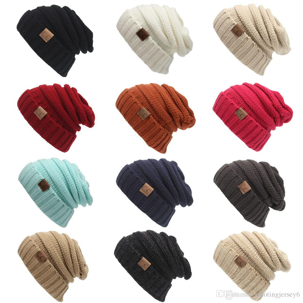 88b41903613 Unisex Winter Knitted Wool Cap Women Men Folds Casual CC Labeling ...