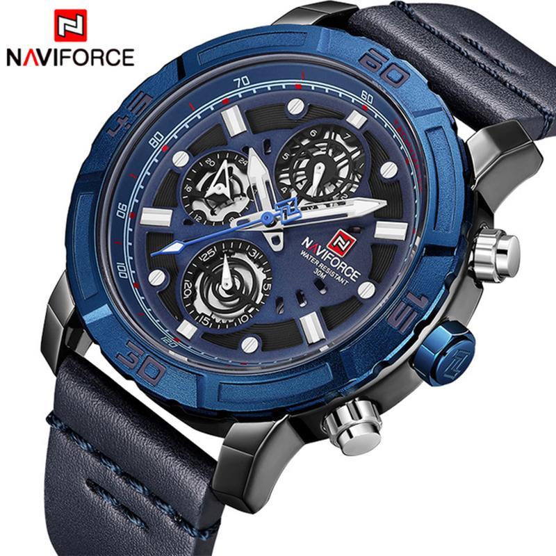 6901f18d2db Compre NAVIFORCE Mens Relógios Top Marca De Luxo Esporte Multi Função De  Relógio De Quartzo Relógio Pulseira De Couro Dos Homens À Prova D  Água  Relógio De ...