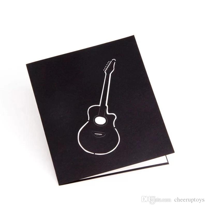 2018 New Birthday Card 3D Stereo Guitar Greeting Music Romantic Casual Fashion Gift Restaurant Cards Online Order