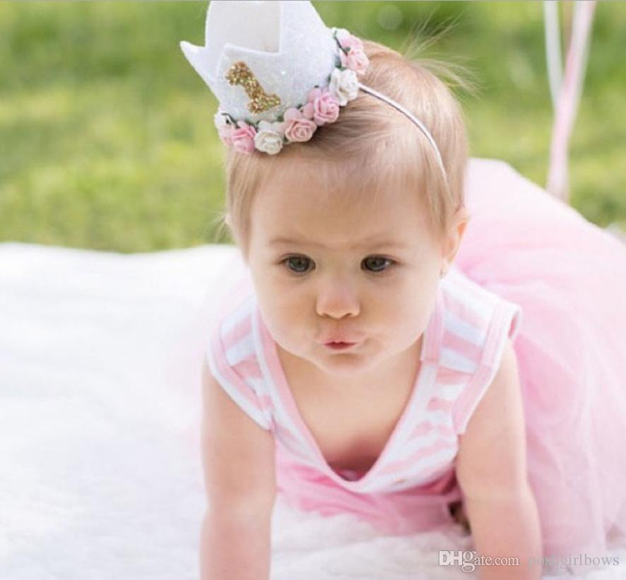 6fce1c6b5 free shipping 120pcs Baby Girl Boy One 1 2 3 4 5 6 7 8 9 Years Old Birthday  Hat Crown Headbands Birthday Party Decoration Hair Decorative