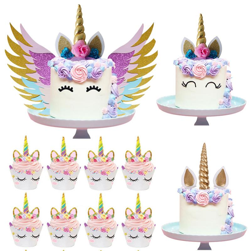 Unicorn Cake Topper Unicornio Horn Ears Cake Decorations Cupcake Toppers  Baby Shower Birthday Party Supplies Baking Tools