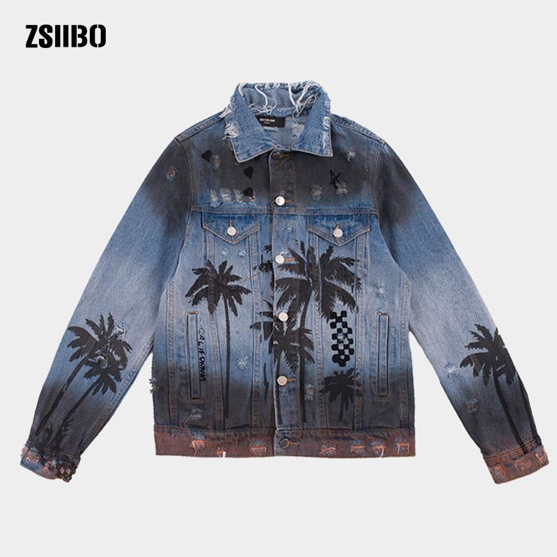 ZSIIBO Coconut tree spray paint couple with denim jacket Casual Fit Slim Long Sleeve Shirts Autumn Cotton Mens Clothing WGJK13