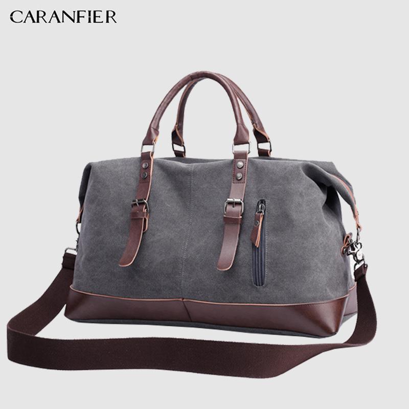 31cd4944e153 CARANFIER Canvas Leather Mens Bags 22 Travel Luggage Bag Men Duffel Travel  Tote Large Weekend Bag Overnight Big duffle Handbag