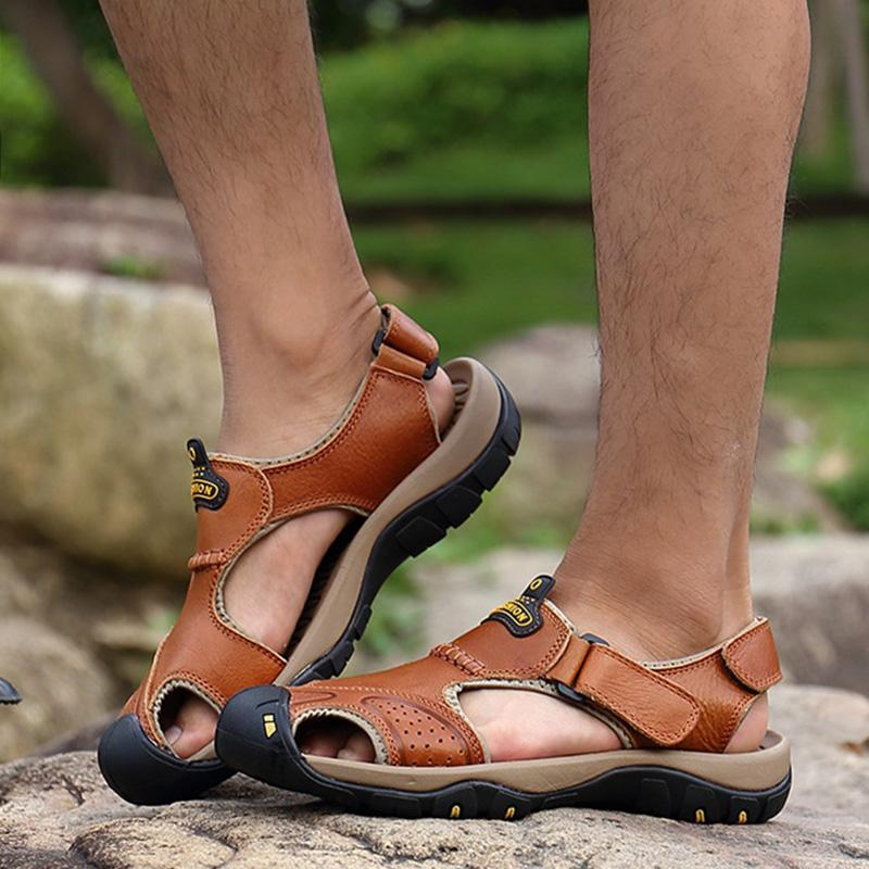85157da95cef Genuine Leather Men Sandals 2019 Summer Men Shoes Cow Leather Beach Sandals  Fashion Male A829 Chaco Sandals Jack Rogers Sandals From Special2013