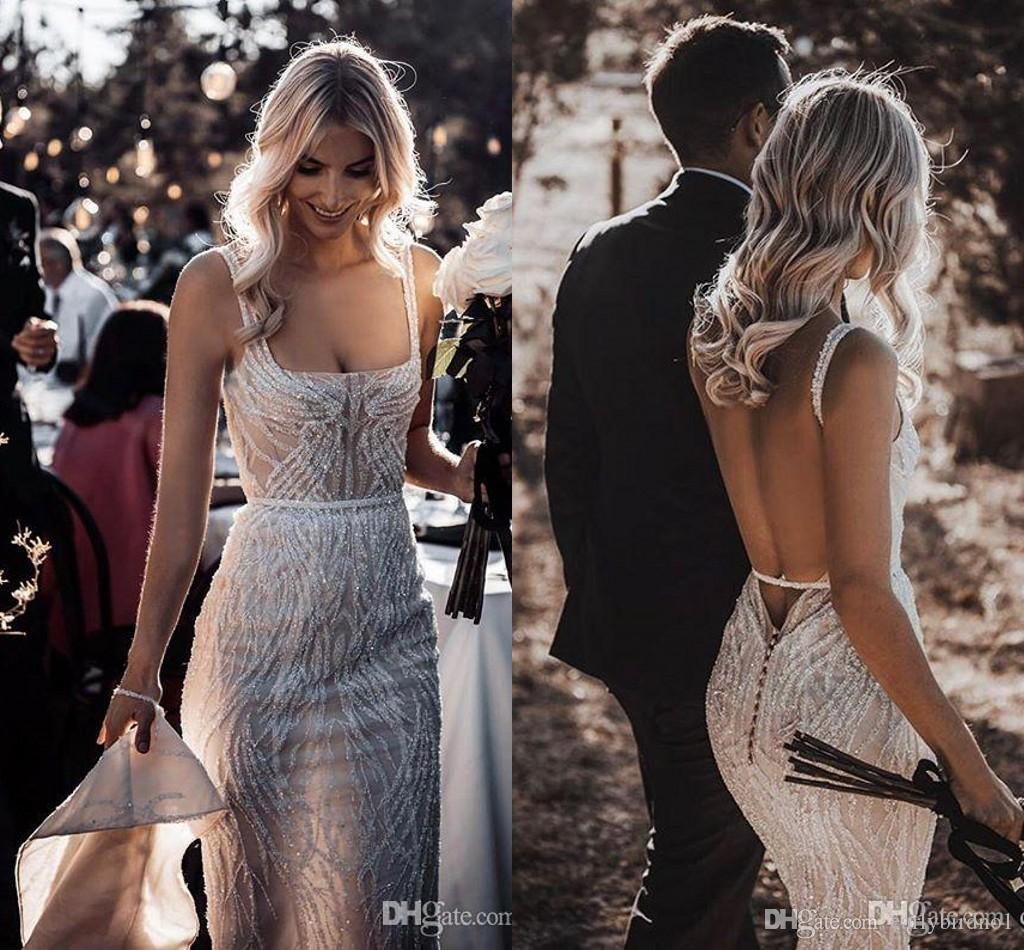 Berta Shinny Boho Mermaid Wedding Dresses Lace Sequins Beads Sexy Backless Beach Wedding Dress Sweep Train Boho Vestidos De Novia
