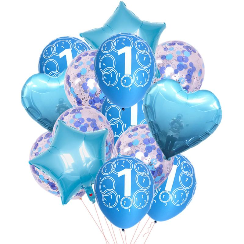 Baby Boy Girl 1st Birthday Decoration Balloons Confetti Latex Ballon ItS A 1 Year Old Party Decor Shower Items For
