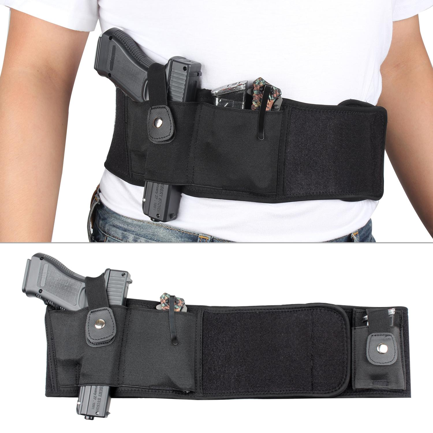 Concealed Carry Belly Wrap Holster Belly Gun Holster Abdominal Band Pistol Holster With 2 Magazine Pouches Hunting Holsters