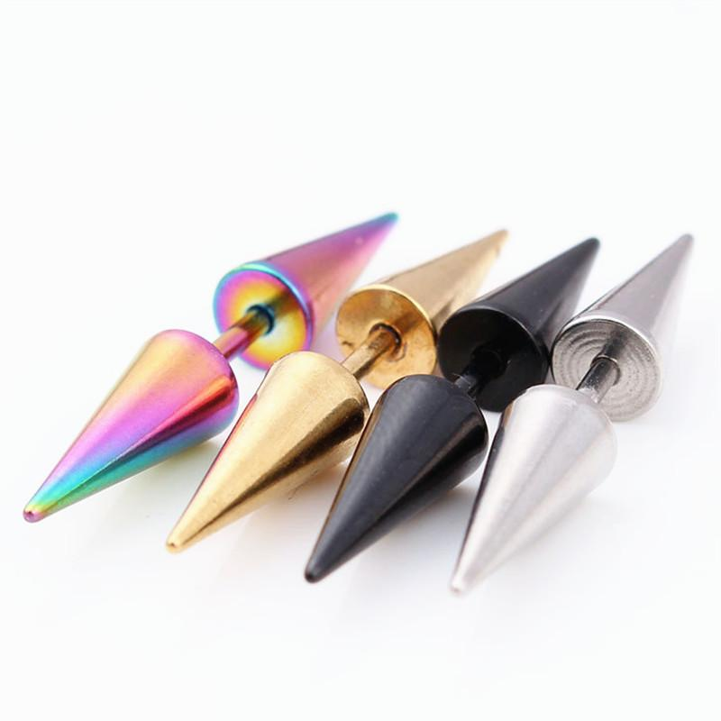 4 Colors 1pcs kpop Fashion Stainless Steel Rivet Taper Spike Stud Earrings For Unisex Women Men Cone Punk Rock Gothic Jewelry