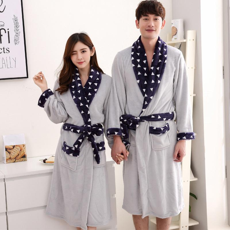 8f288aee89 2019 Women S Warm Winter Night Robe 2018 Autumn Flannel Couple Homewear Bathrobe  Female Long Thicken Sashes Soft Sleepwear Nightdress From Ycqz2