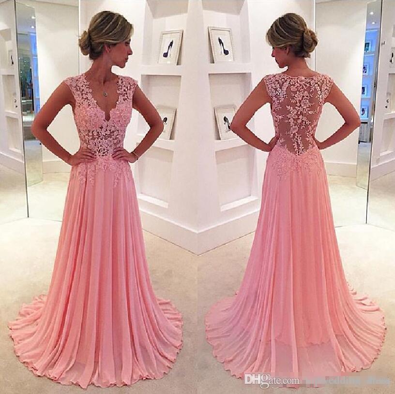2018 Elegant Pink Prom Dresses A Line V Neck Lace Formal Evening Dress  Illusion Lace Sleeveless Floor Length Chiffon Cheap Bridesmaid Dress Light  Blue Prom ... a9a242914