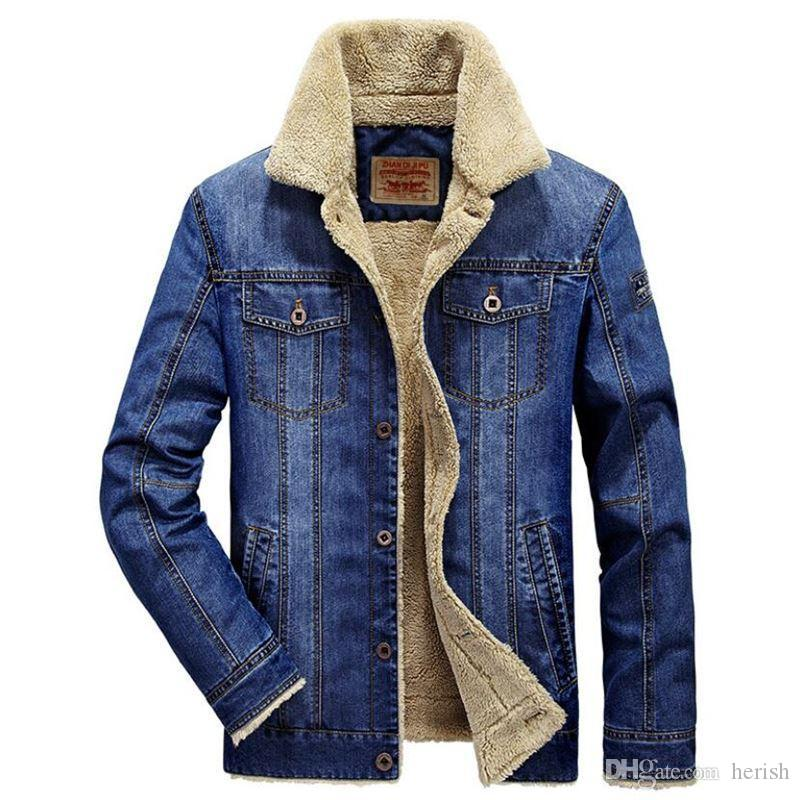 2018 Winter Warm Denim Jacket Men Fur Collar Parkas Coats Brand Jeans Jacket Military Outwear Cowboy Jackets Plus Size 5XL 6XL