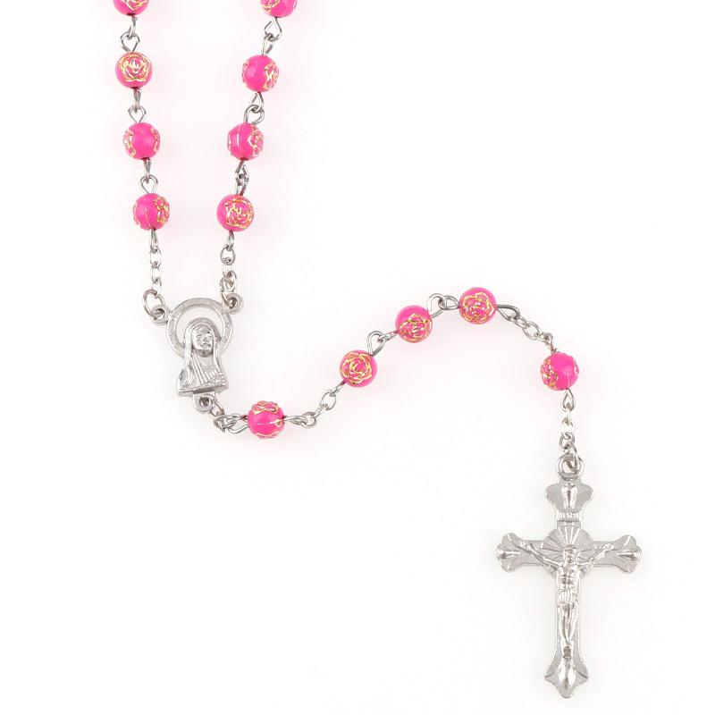 5 Farben 6mm lange Plastikdruck Silber Rose Runde Perle Rosenkränze Halskette Rosa Farbe Heiliger Rosenkranz mit Lourdes Medaille