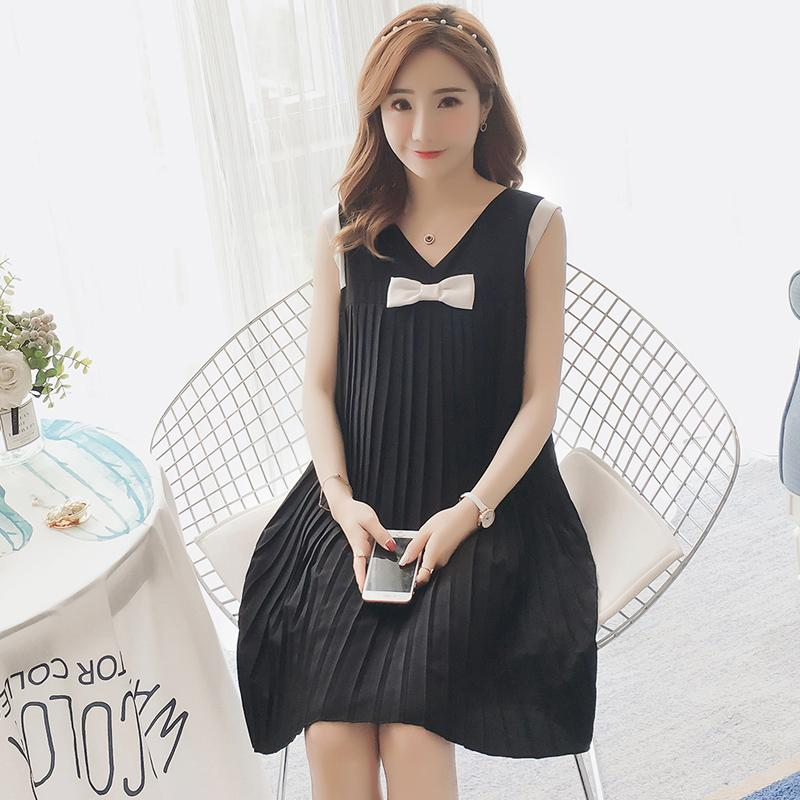 6a3b0cfde8542 2019 131# Summer Korean Fashion Maternity Dress Sweet Tank Sleeveless Pleat  Chiffon Clothes For Pregnant Women V Neck Loose Pregnancy From Beasy, ...