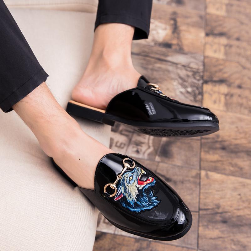 watch a7a88 c948a Ciabatte da uomo in pelle Scarpe estive pantofole Uomo Luxury Driving Shoes  Slip On Casual mocassini maschili scarpe sandali all aperto