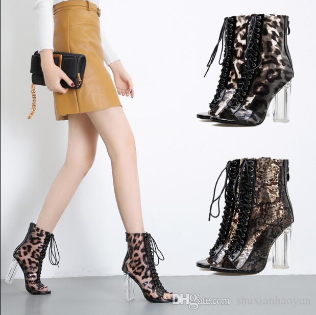 Effacer Femme En Serpent Zip Talons Léopard Bottines Sandales Chaussures Pvc Cristal Bottes Imprimer Sandalias Transparent Hauts Dames sxtCdBhQr