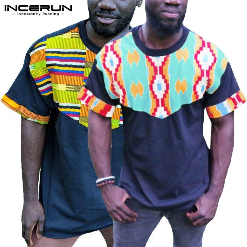 33a5bb4de 2019 Casual T Shirt Men Short Sleeve Crew Neck Print Patchwork ...