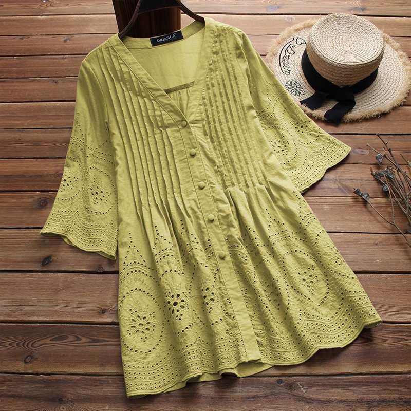 e8068918f 2019 2019 Summer Women Cotton Linen Blouse Elegant Embroidery Hollow Blusas  Female V Neck Button Shirts Pleated Tunic Top Plus Size Y19042902 From  Huang01, ...