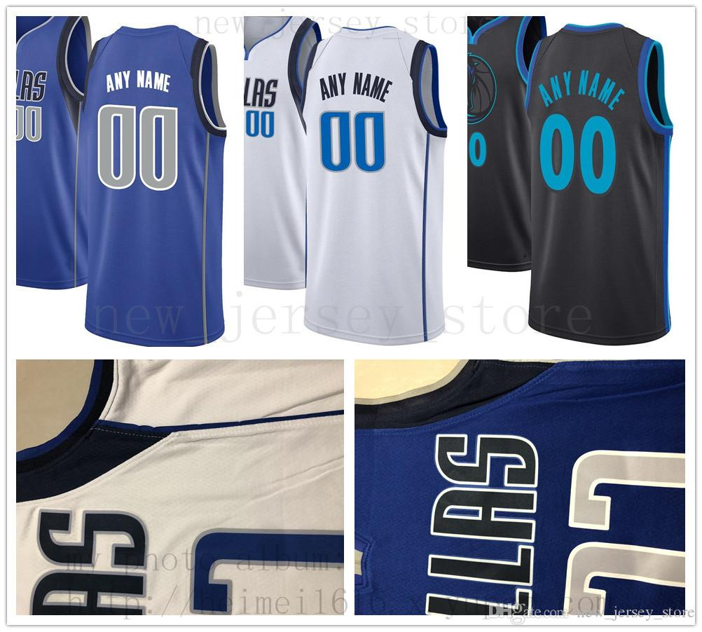 Custom Printed DallasMavericksJerseys Top Quality 2019 New Mens White Blue  City Jersey. Message Number And Name on the Order Online with  26.03 Piece  on ... 3e7c27465