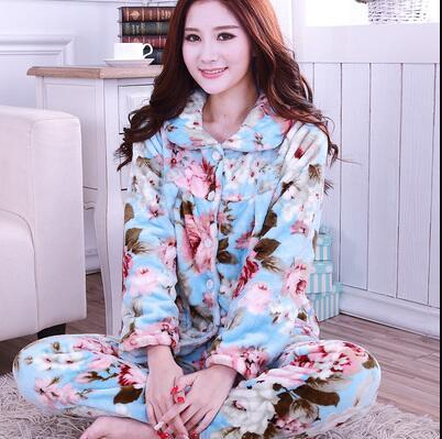 023bc4851 Sweet Memory Women Winter Pajamas Soft Sleepwear Warm Flannel ...