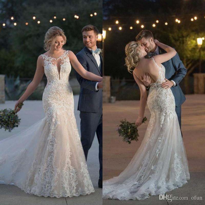 ec7392a4d Vestido De Noiva Barato Maravilhoso Scoop Neck Backless Lace Sweep Trem  Sereia Vestido De Noiva De Casamento Plus Size Tulle Feita Sob Encomenda  Robe De ...
