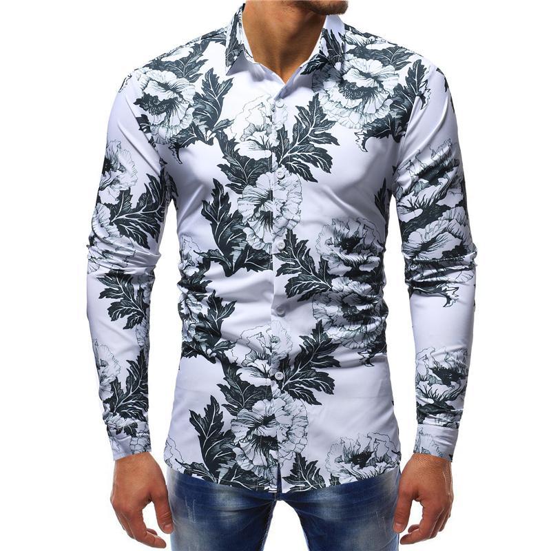 Männer Kleidung Shirts mit Blumenmustern Muster-Geschäfts-Hemd Smart Casual Langärmlig einzigartigen Entwurf-dünne Hemden Tops