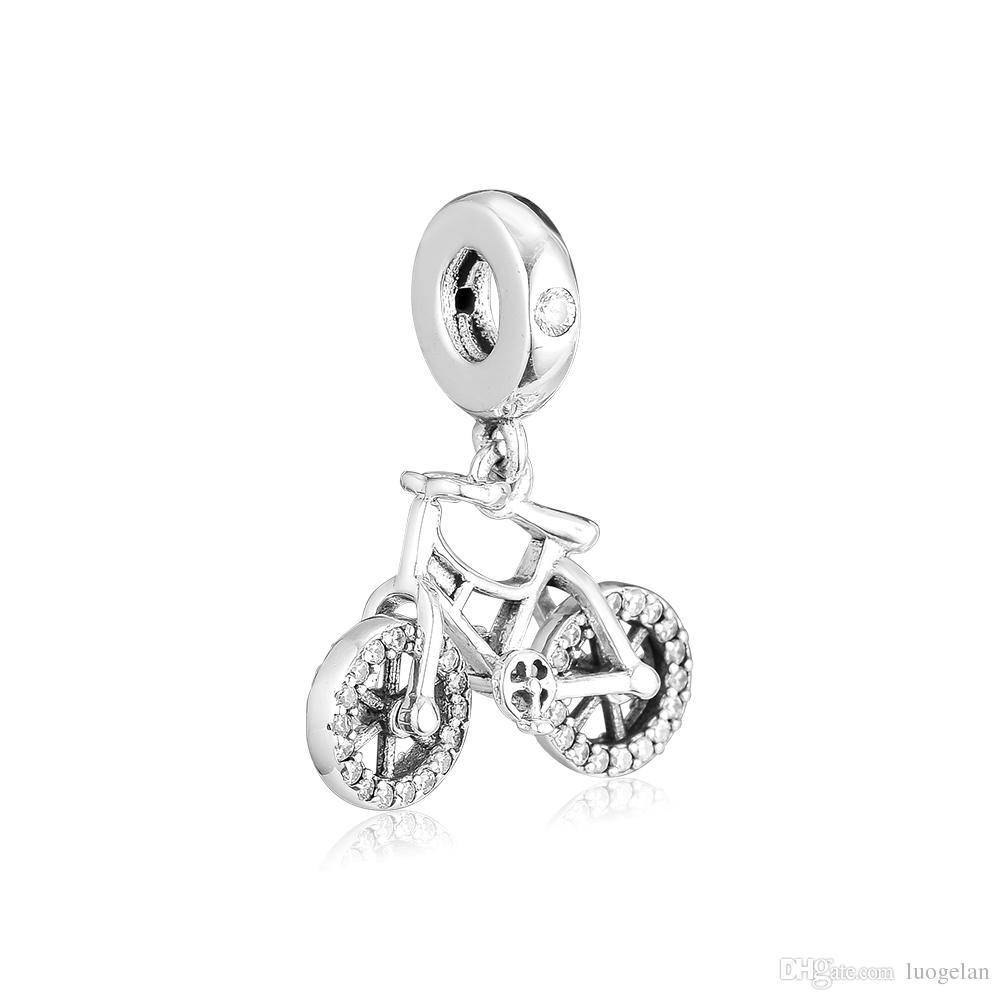 2019 Spring 925 Sterling Silver Jewelry Shiny Crystal Bicycle Charm Beads Fits Pandora Bracelets Necklace For Women DIY Making