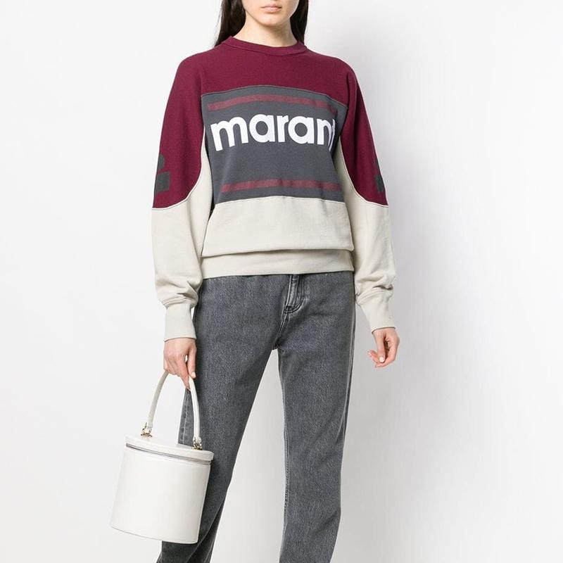 19FW Marant Sweatshirt Color Matching Vintage O-Neck Long Sleeve Street Pullover Sweatshirts Fashion Spring Summer Sweater Shirt HFHLWY032