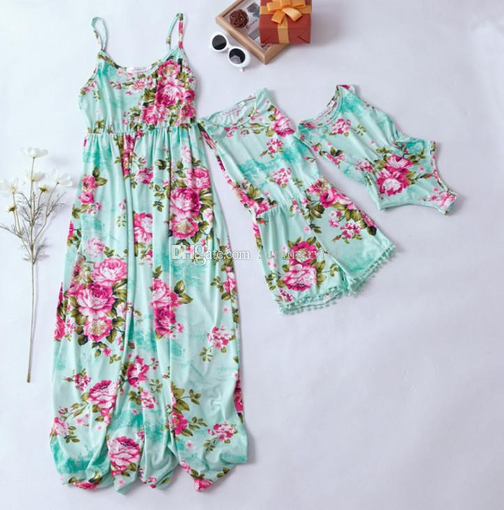 76e07d9546 Mommy And Daughter Matching Outfits Infant Kids Romper Girls Floral Printed  Tassel Shorts Jumpsuits Women Beach Holiday Long Dress F7194 Family Matching  T ...