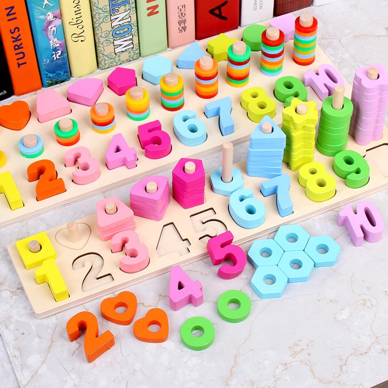 Cheap Price Children Montessori Wooden Toys Kids Wooden Building Blocks Toy Math Counting Early Learning Educational Toys Gifts For Children Home