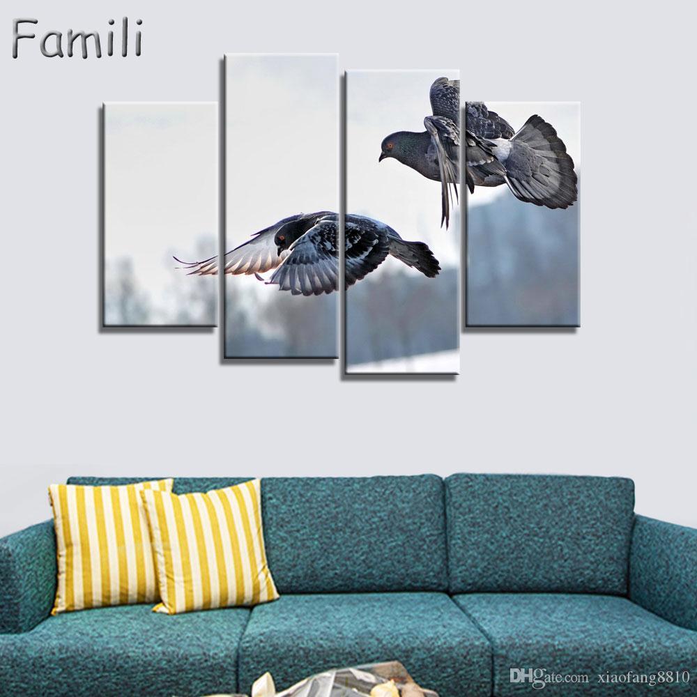 Satın Al çerçevesiz şehir Siluet Renkli Kuş Tuval Boyama Posteri