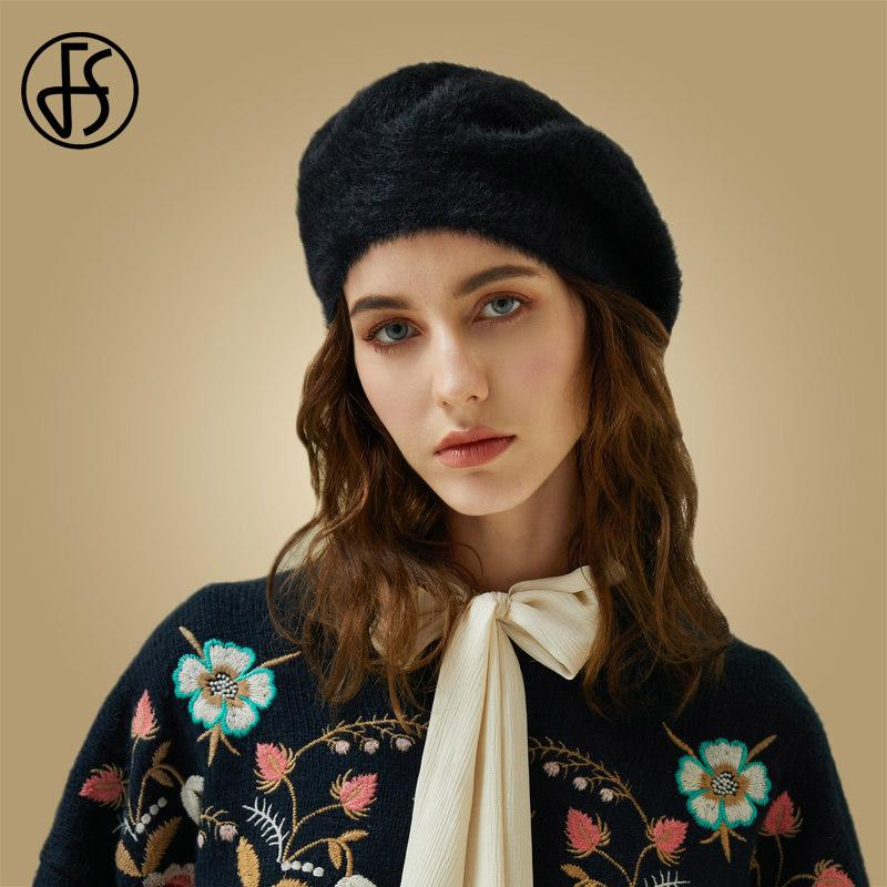 2019 FS 2019 New Faux Mink Hair Black Beret Hat Vintage Women Winter Wool  Knitted Hats Beanie Solid Color Warm Female Cap Sombrer From Shanjumou 5bb2e8b214c9