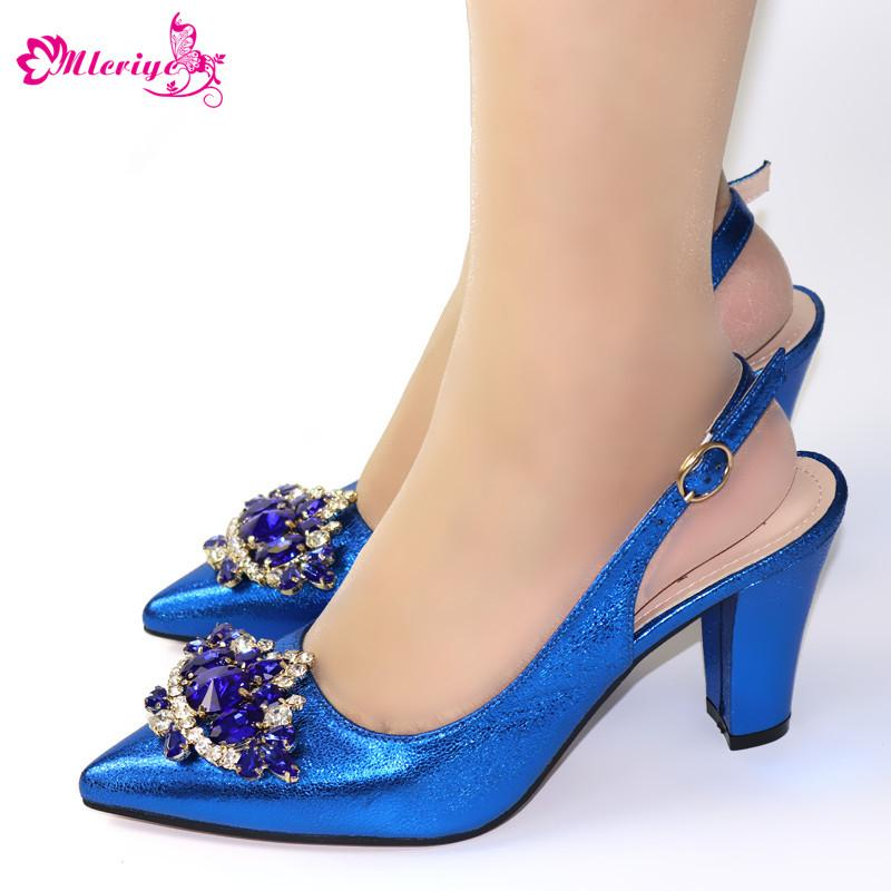 Blue Peep Toe Wedding Shoes with Rhinestone Square Heels Pumps for Party Elegant Italian Design Women Wedding Sandals